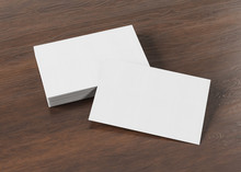 White Business Card Pile On Wood Mockup 3d Rendering