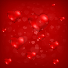 Red Heart Background, Love Pattern With Hearts For Valentine