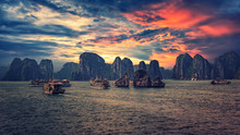 Halong Bay At Sunset In Vietnam