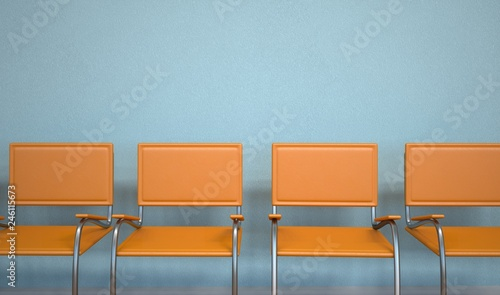 Anteroom Orange Chairs Wallpaper Mural