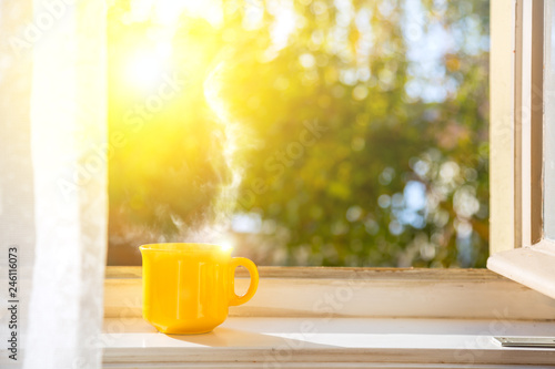 Valokuvatapetti Good morning! Cup on the window with sun