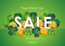 Happy St. Patrick's Day Sale Off Background With Green Shamrock Leave And Gold Coin Abstract Design Vector