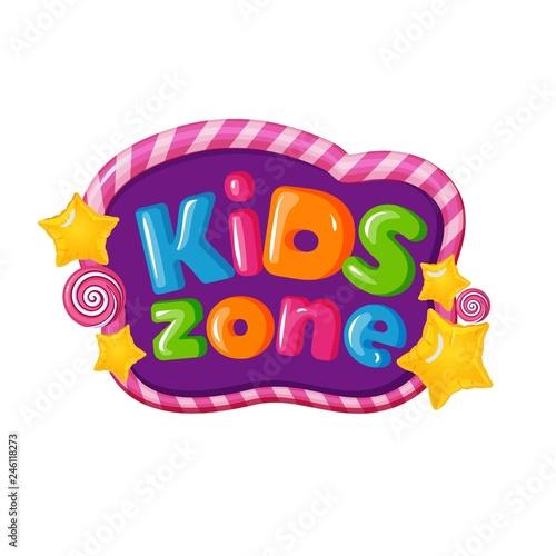 Tablou Canvas Children playground area, kids zone logo on white
