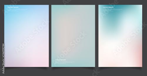 Fotografering  Set of abstract soft blurred gradients background graphic design template for brochure, banner, wallpaper, mobile screen, annual report