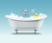 Vector White Bathtub In Vintag...