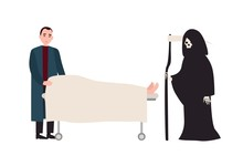 Sad Or Sorrowful Man Grim Reaper With Scythe Standing Near Covered Dead Body Lying On Gurney. Grieving Relative And Death Near Deceased Family Member. Vector Illustration In Flat Cartoon Style.