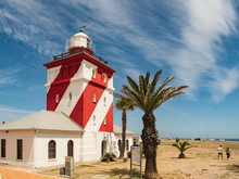 Cape Town City And Lighthouse At Green Point, South Africa.