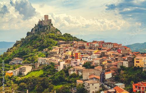 View of Goceano's castle in Burgos, Sardinia, italy. Sardinia architecture and landmark.