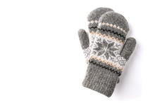 Warm Mittens Isolated On White Background.