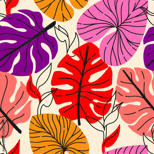 Cotton fabric Tropical seamless pattern with exotic monstera leaves