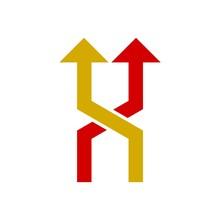 Road Choice Icon Or Logo, Arrow Sign