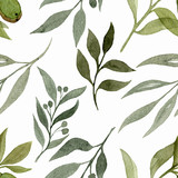 Wzór z elementami roślin. Akwarela ilustracja ręcznie malowane. Ładny wzór tapety, tkaniny, tkaniny, papier pakowy, tło. - 246127656