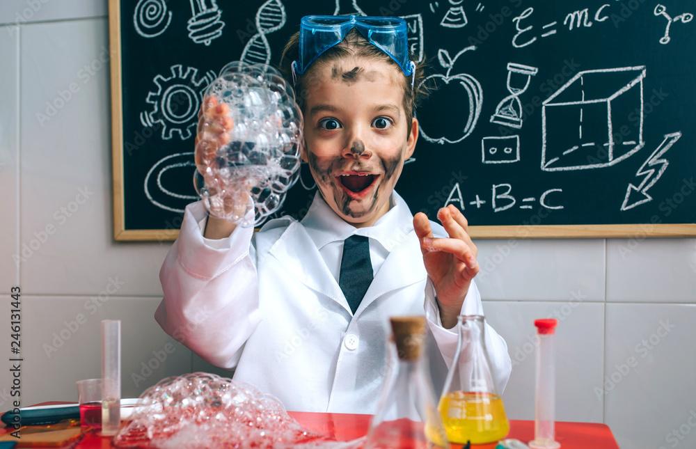Fototapety, obrazy: Funny boy chemist with dirty face