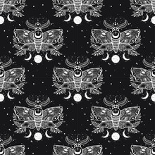 Vector Seamless Pattern With Moth Butterfly.Hand-draw Illustration. Design Tattoo Art. With Mystic And Occult Hand Drawn Symbols.