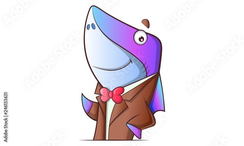 Vector cartoon illustration of cute shark wearing coat and tie. Isolated on white background. - fototapety na wymiar