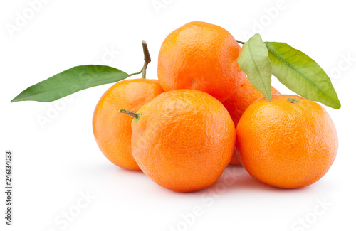 Fresh tangerines oranges fruit with leaves isolated on white background
