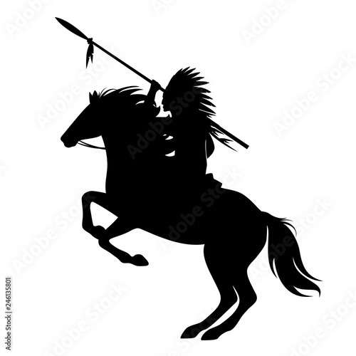 Fotografie, Obraz native american indian chief with spear and feathered headdress riding a horse -