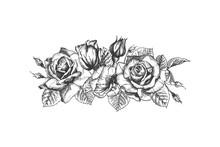 Floral Frame. Hand Drawn Sketc...