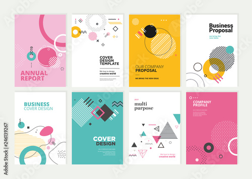 Photo  Set of brochure, annual report, flyer design templates in A4 size