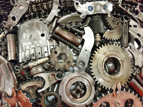 Fototapeta koła zębate silnika jako abstrakcyjne tło przemysłowe lub maszynowe, zestaw narzędzi obraz