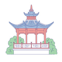 Vector Chinese Gazebo Building Architectural Landmark. Oriental Architecture Line Art Traditional Historic National Of China.