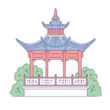 Vector Chinese Gazebo Building...