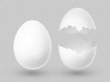 Realistic Vector White Eggs Wi...