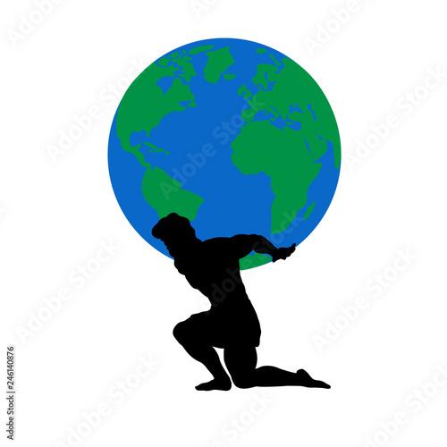Fotomural Atlas Titan god holds earth silhouette ancient mythology fantasy
