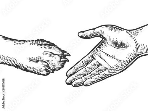 Human Hand And Dog Paw Handshake Engraving Vector