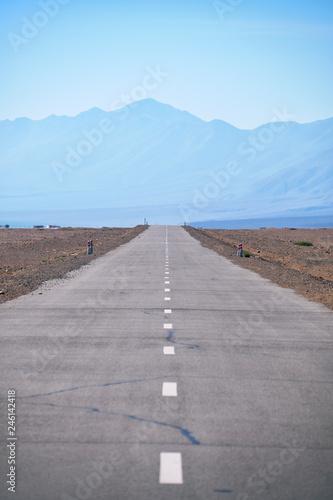 Keuken foto achterwand Kanaal Empty asphalt straight highway road in Mongolia between mongolian towns Khovd and Altai