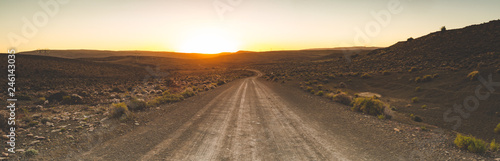Fotografie, Obraz Iconic scenes from the karoo region in South Africa, gravel roads and semi deser
