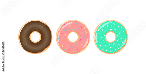 Fotografie, Tablou Colorful glazed donut with sprinkles vector set