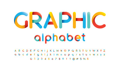 Vector of modern vibrant font and alphabet