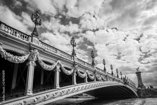 Fotobehang Centraal Europa Alexandre III bridge and the river Seine in Paris France, black and white photography