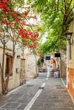 Fototapeta Uliczki - Pedestrian street in the old town of Rethymno in Crete, Greece