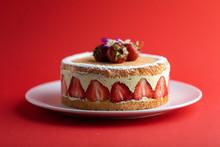 Strawberry Cake Fraisier With Vanilla Cream On Red Background