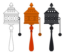 Tibetan Prayer Wheel Vector Flat Icons Set Isolated On A White Background.