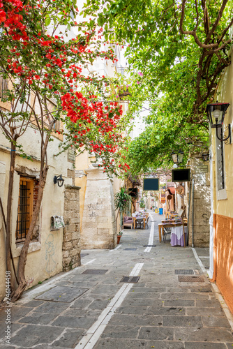Fotobehang Europa Pedestrian street in the old town of Rethymno in Crete, Greece