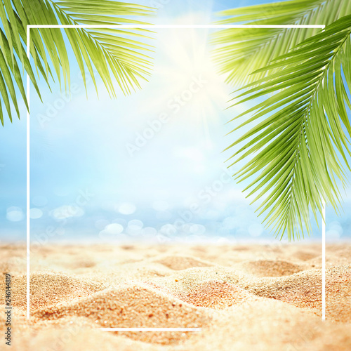 Fototapeta Summer background with frame, nature of tropical golden beach with rays of sun light and leaf palm. Golden sand beach close-up, sea water,  blue sky, white clouds. Copy space, summer vacation concept. obraz