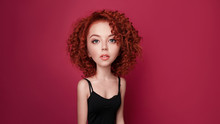 Funny Red Curly Girl With Big Head And Funny Hairstyle. Caricature Stylization Of Female Logic
