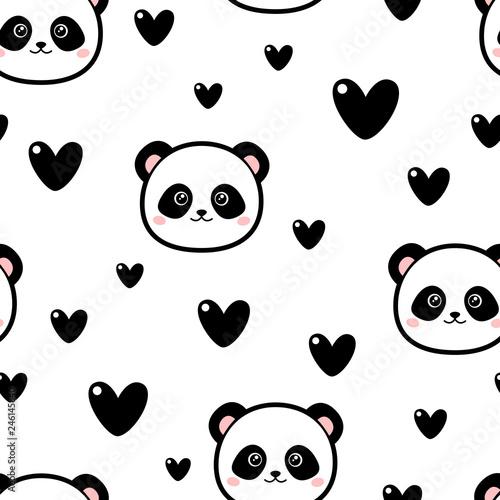 Fototapeta premium Śliczny wzór pandy z sercami