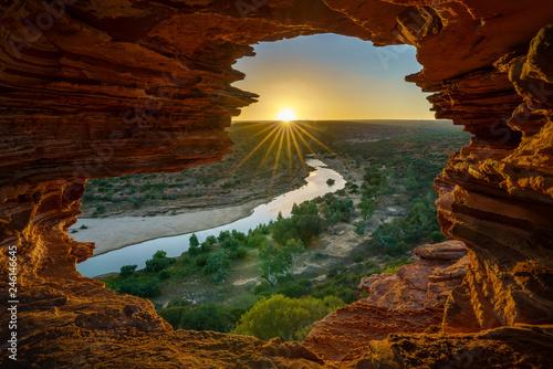 Garden Poster Brown sunrise at natures window in kalbarri national park, western australia 15