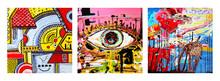 Set Of Unusual Original Art Abstract Composition Of Human Eye And Abstract Composition