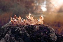 Mysterious And Magical Photo Of Gold King Crown Over The Stone Covered With Moss In The England Woods Or Field Landscape With Light Flare. Medieval Period Concept. Toned And Filtered.