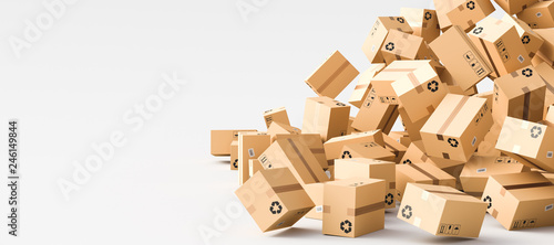 Obraz Cardboard boxes with empty space on left side, logistics and delivery concept. 3D Rendering - fototapety do salonu