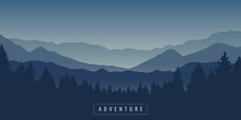 Adventure Mountain And Forest Landscape At Night Vector Illustration EPS10