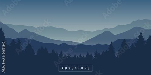 Fototapeta adventure mountain and forest landscape at night vector illustration EPS10 obraz