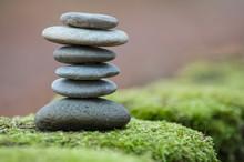 Closeup Of Stone Balance On Mo...