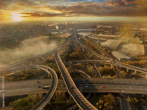 Photo  Birmingham UK Spaghetti Junction aerial with city centre background