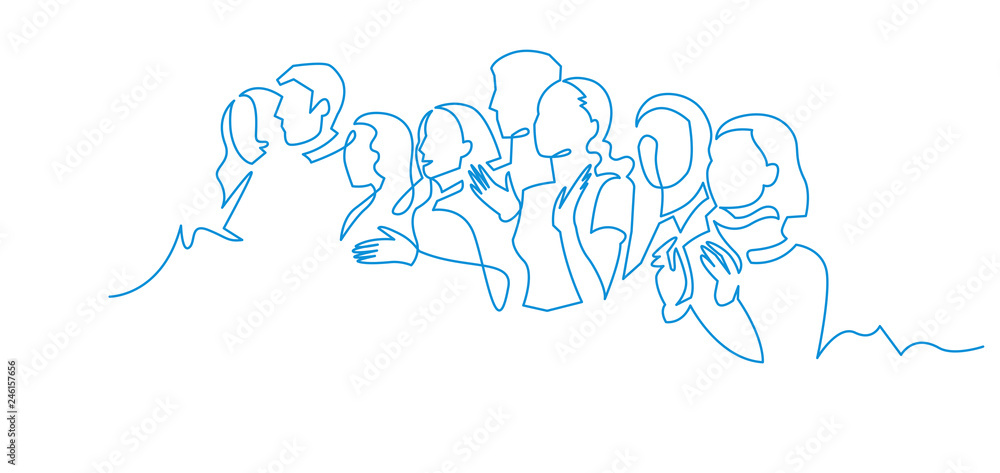 Fototapeta Group of people continuous one line vector drawing.